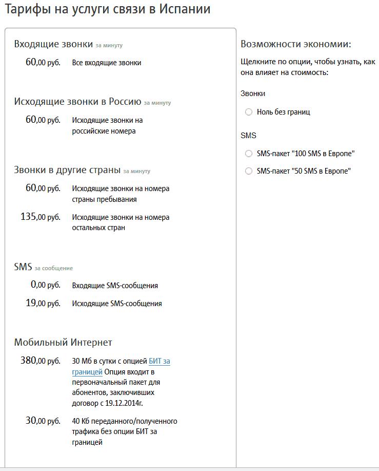 Калькулятор международного роуминга
