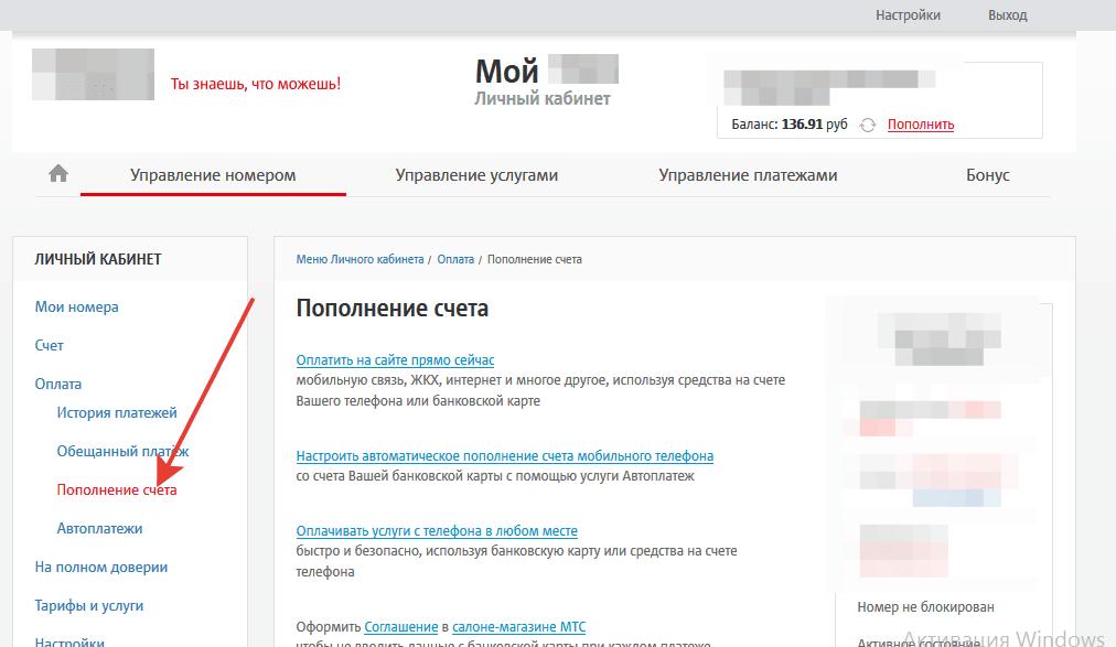 Пополнение счета МТС с помощью интернет помощника